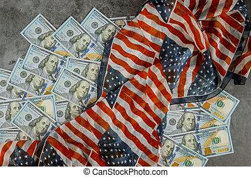 Top view american flag on US dollars USA economic
