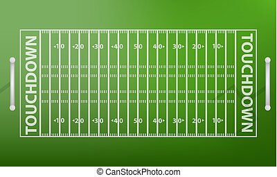 Top view american football field concept background, realistic style