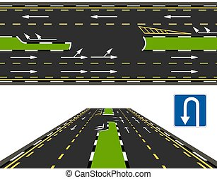 Top view and perspective view of a highway, a U-turn road. Road marking. illustration