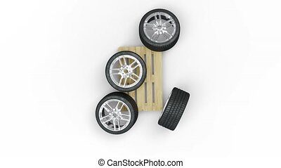 Top view and turning around of Sport Wheels put messy on a wood pallet