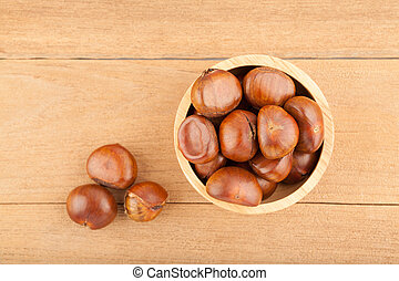 Top view angle of chestnut