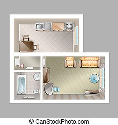 Top view apartment interior - Detailed plan with lounge...
