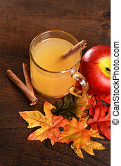 top view apple cider with cinnamon stick