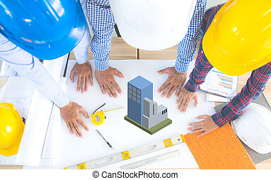Top view architecture and engineering consult blueprint builder Background