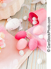 Top view assortment of handcrafted eggs for Easter