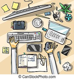 Top view background - office workspace, business meeting in...