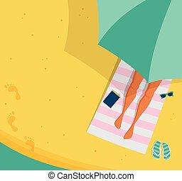 Top view beach background, Summer water activities. Women relaxing at the beach. Vector banner, poster design