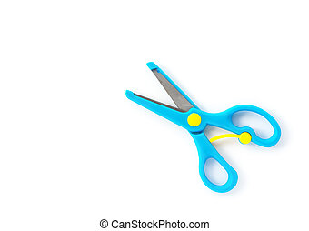 top view blue handcraft scissors for children on a white background