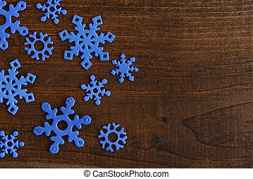 top view blue snowflakes