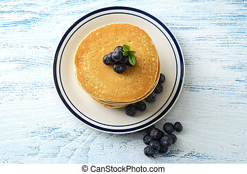 top view blueberry pancakes on a plate