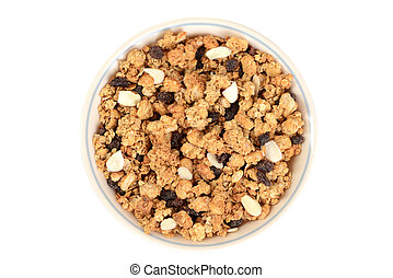 top view bowl of granola raisin almond cereal