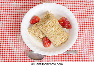 top view bowl shredded wheat