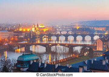 Top view bridges on the Vltava River in Prague