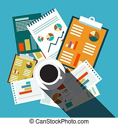 Top View Business Flat Design Retro Background. Papers, Graphs, Reports and Coffee Cup on Blue Table.