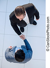 top view. business handshake business partners