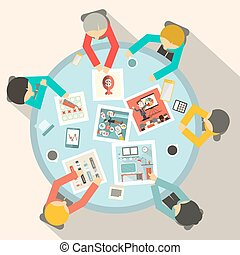 Top View Business Meeting Around Circle Table Vector
