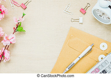 Top view business office desk background.The pen letter flower clock clip calculator on wooden table background with copy space.