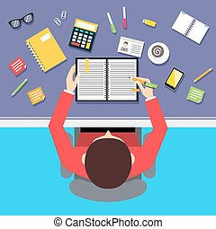 Top view businessman workplace