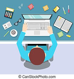 Top view businessman workplace with male manager laptop and stationery vector illustration