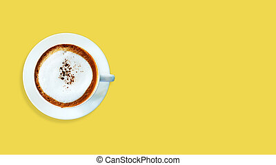 Top view Cappuccino coffee on yellow background.