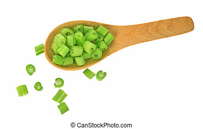 Top view celery isolated on white background