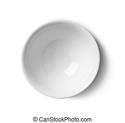 top view ceramic bowl on white background