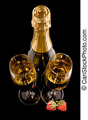 Top view champagne