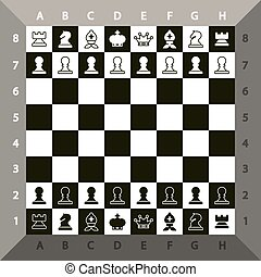 Top View Chessboard. Vector Chess Game.