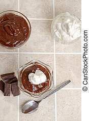 top view chocolate parfait with ingredients