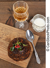 top view christmas pudding with holly