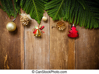Top view, Christmas tree with decoration on a wooden board
