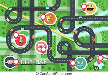 Top View City Road Map with Destination Points - Hospital,, Supermarket, Fastfood, Bookstore, Hotel and Cinema. Vector Flat Design Aerial View Town.