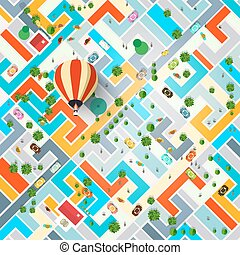 Top View City with Hot Air Balloon. Town with Streets Aerial...