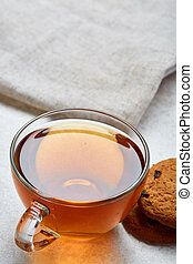 Top view closeup vertical picture of tea in transparent cup ...
