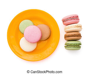 top view colorful macaroons white with clipping path