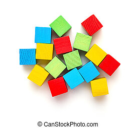 top view colorful square wooden toy blocks on a white background