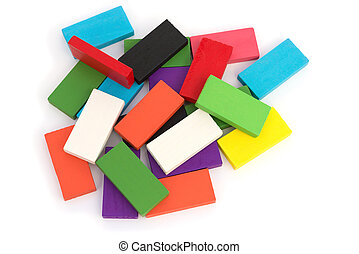 top view colorful wooden toy blocks on white background