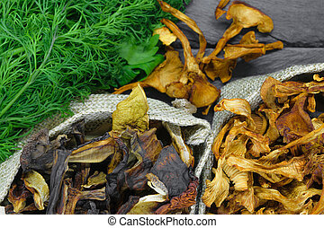 Top view composition of dry boletus and chanterelles mushrooms placed in canvas with dill and parsley broom on black stone background surface