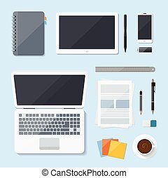 Top view Computer Laptop vector design on desk, Workplace with mobile devices and documents concept