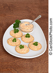 top view crackers with salmon pate