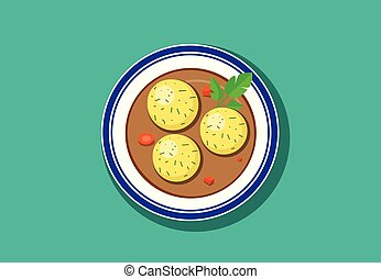 Top view, Delicious Matzoh ball soup, vector design