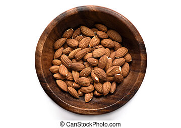 Top view dried almond in wood bowl on white background.