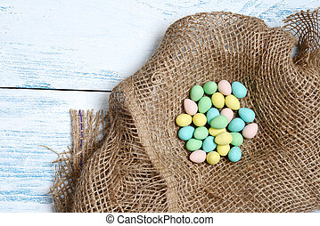 top view easter eggs in a nest
