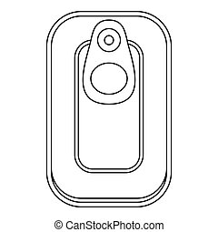 Top view fish can icon, outline style