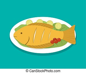 Top view fish fry on white plate, vector food