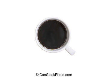 Top view flat lay of coffee cup isolated on white background.