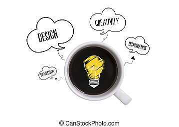 Top view flat lay of coffee cup with creative idea concept on white background. copy space