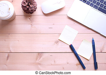 top view flat lay office table desk. workspace with notebook ,paper note, cup coffee and mouse on copy space