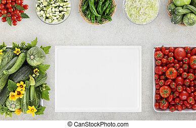 top view food with many fresh vegetables and cutting boards on kitchen marble worktop, copy space, template