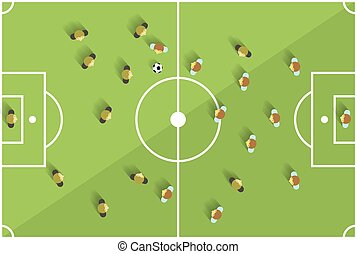 Top View Football Playground with Players Vector
